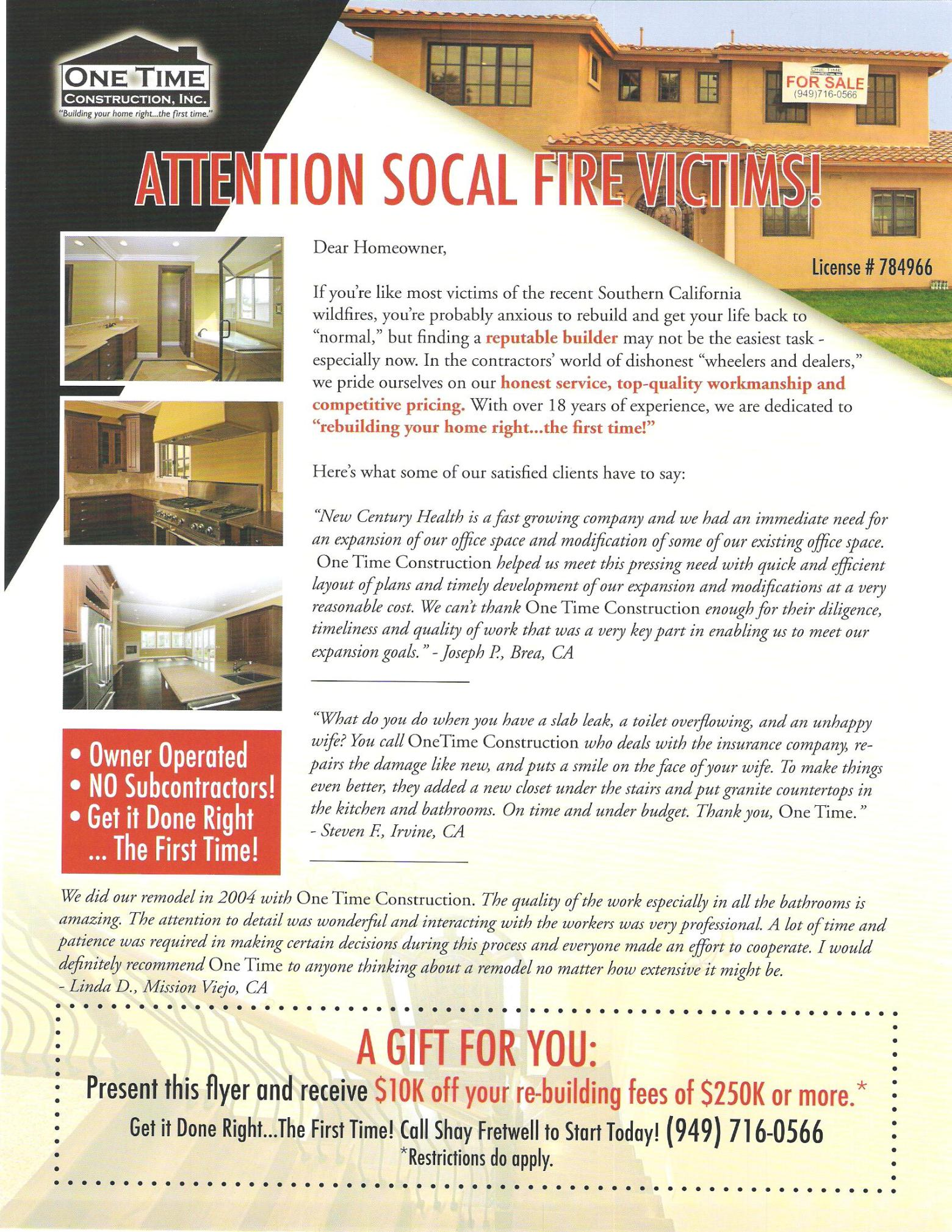 Orange County Fire Relief Flyer